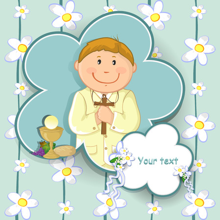christian confirmation: Ticket boy with first communion dress-various levels- editable-transparency blending effects and gradient mesh