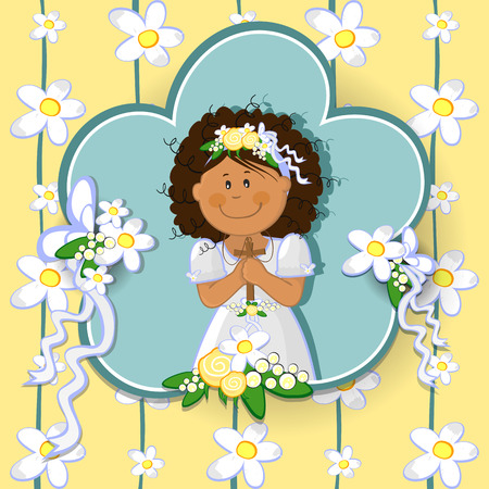 christian confirmation: Ticket girl with first communion dress-various levels- editable-transparency blending effects and gradient mesh