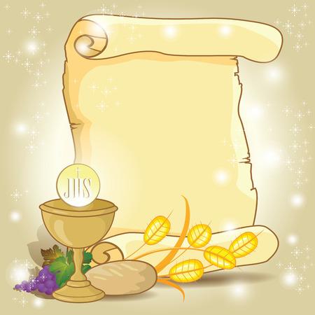 parchemin: Billet avant la communion avec le parchemin et chrétiennes symboles-divers effets de mélange niveaux modifiable-transparence et filet de dégradé Illustration