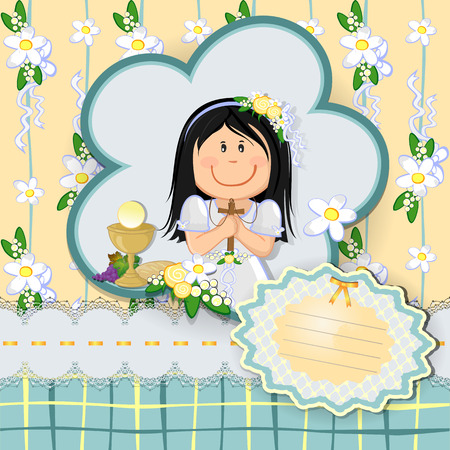sacrament: Ticket girl with first communion dress-various levels- editable-transparency blending effects and gradient mesh