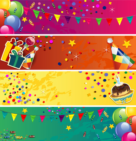 birthday hat: Banners birthday with balloons and cake-space to insert your text-transparency blending effects and gradient mesh