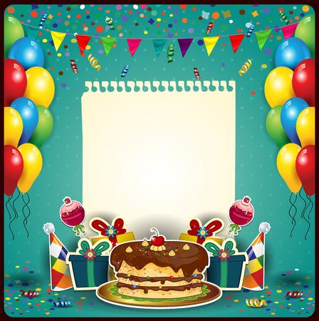 誕生日ケーキ空間と風船、紙のシートをテキスト透明ブレンディング効果やグラデーション メッシュを挿入するには 写真素材 - 29138650