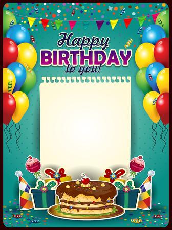 happy birthday party: Feliz cumplea�os con una hoja de papel en posici�n vertical con globos y pastel-espacio para insertar sus efectos en texto transparencia mezcla y el gradiente de malla