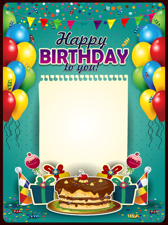cake background: Happy Birthday with a sheet of paper vertically with balloons and cake-space to insert your text-transparency blending effects and gradient mesh