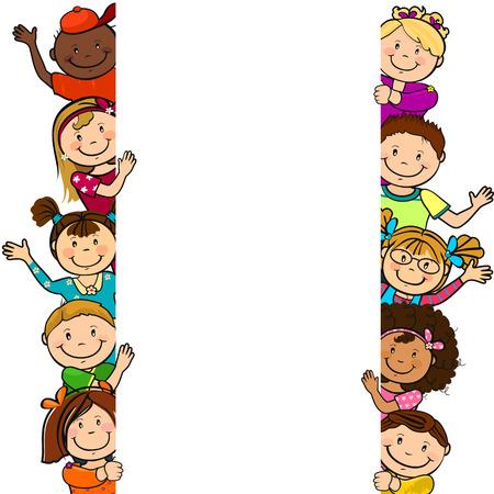 Kinderen met een leeg vel papier, waar u uw eigen tekst geïsoleerd -geen effect van transparantie kunt invoeren Stock Illustratie