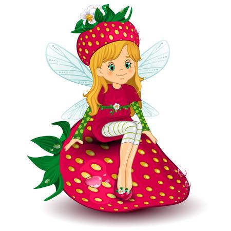 carnival girl: Car�cter de hada sentada en una fresa-varios niveles-editable-mezcla de transparencias y efectos de malla de degradado