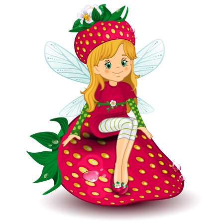 Character of fantasy fairy sitting on a  strawberry-various levels-editable-transparency blending effects and gradient mesh  矢量图像