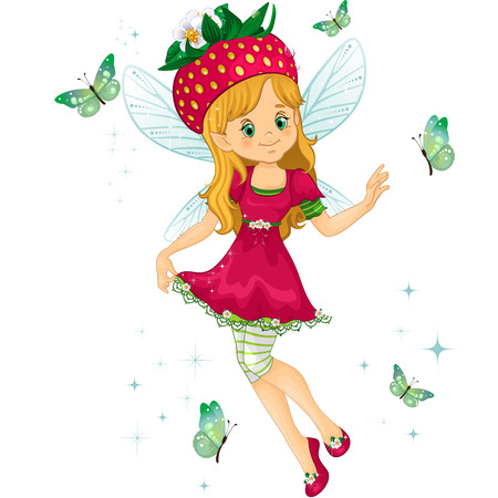 cartoon strawberry: Fantasy character with strawberry for a hat-isolated-editable-transparency blending effects and gradient mesh
