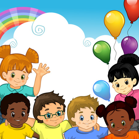 multiracial: Children of various nationalities together with rainbow balloons and white cloud where you can insert your own text-transparency blending effects and gradient mesh