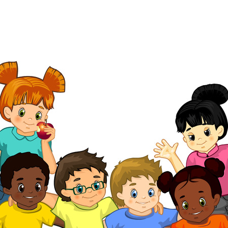 Children of various nationalities together with isolated background where you can insert your own text -transparency blending effects and gradient mesh   Vector