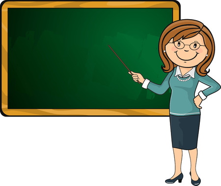 Teacher with wand pointing a green chalkboard, where you can insert your own text-no transparency blending