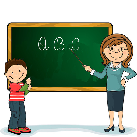studying classroom: Pupil and teacher with his wand pointing a green chalkboard, which can be modified and enter your own text-no transparency blending