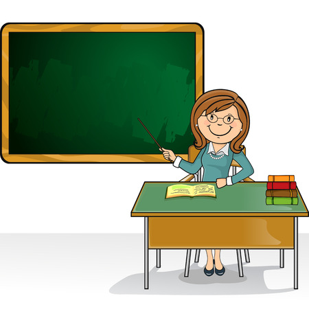 Teacher sitting in the classroom with desk and blackboard where you can insert your own text-no transparency blending