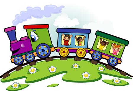 tren caricatura: Malla de tren de juguete con los niños que saludan en los carriles y césped-editable-Los niños se pueden quitar fácilmente gradiente