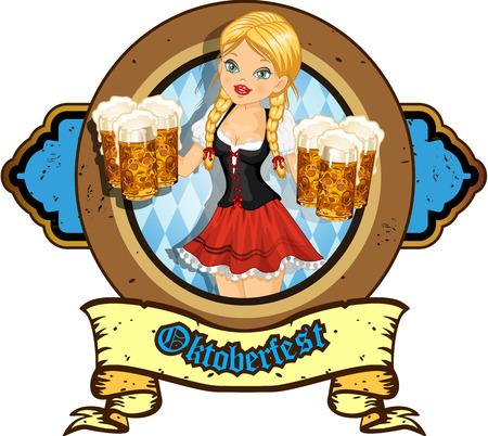 Waitress with beer mugs Vector