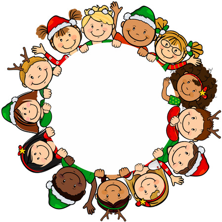 diversity children: The children of the world in a white background with circle clothing Christmas-only level-without the effects of transparency