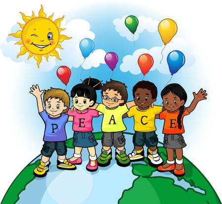 子供アメリカ合衆国世界平和の  イラスト・ベクター素材