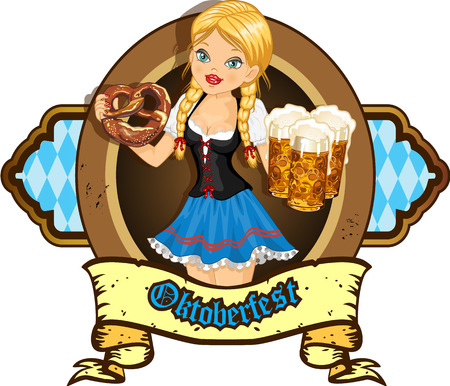 Waitress with beer and pretzels  Vector