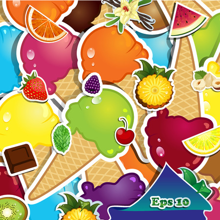 chocolate mint: Assorted flavors of ice cream on summer