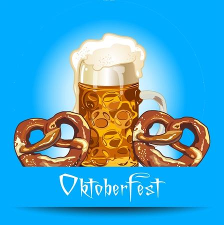 cider: Beer and pretzel on oktoberfest Illustration