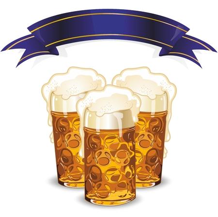 beer mugs: Beer mugs and banner  Illustration