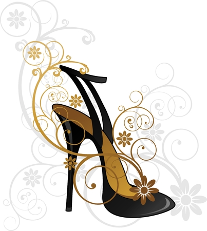 黒花飾りの靴