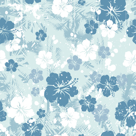 Tropical floral seamless distressed Vector