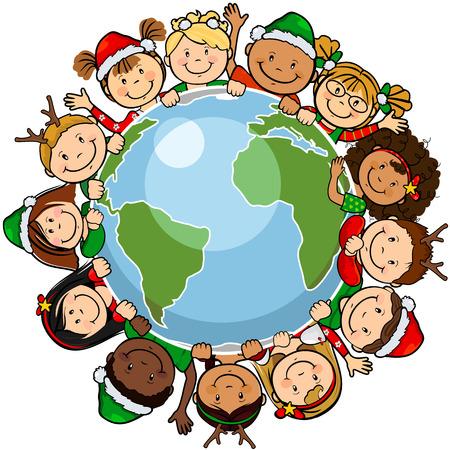 paz mundial: Los niños del mundo en un círculo en el mundo con ropa de navidad de un solo nivel, sin los efectos de la transparencia