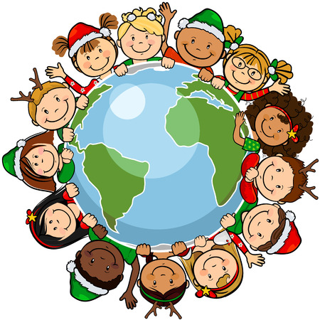 The worlds children in a circle in the world with christmas clothes -single level-without the effects of transparency