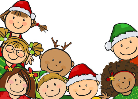 multiracial children: Children along with Christmas clothes with white background where you can insert your own text-single level-without the effects of transparency Illustration