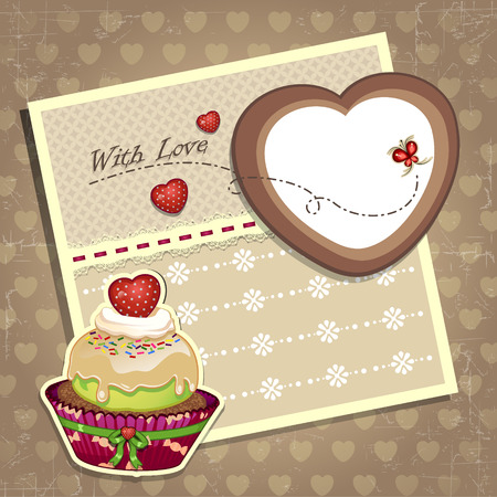 Dessert with strawberry and a letter Vector