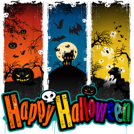 scary night: Happy Halloween with scary night background