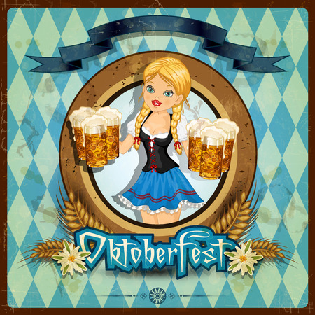 Waitress Bavaria wit beer mugs decorated-multiple levels-transparency blending effects and gradient mesh-Grunge effects can be removed Vector