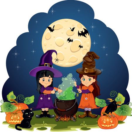 Witches brewing with witchcraft
