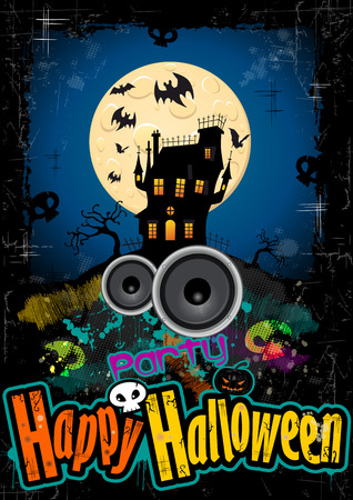 ghostly: Happy Halloween with castle and bats on the background Illustration