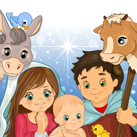 Holy Family in the foreground with ox and donkey-transparency and blending effects gradient mesh