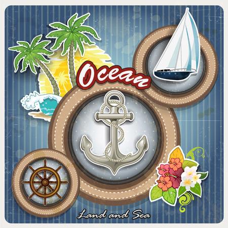 helm boat: Símbolos de ojo de buey marino con efecto grunge extraíble transparencia efectos de mezcla y de malla de degradado Vectores