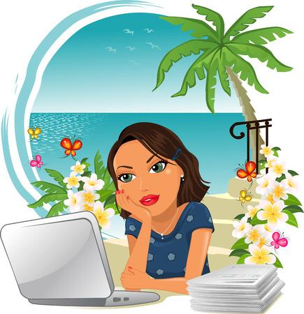 欲望: 海グラデーション メッシュでの休暇、仕事には少し欲求とオフィスの女性を考える