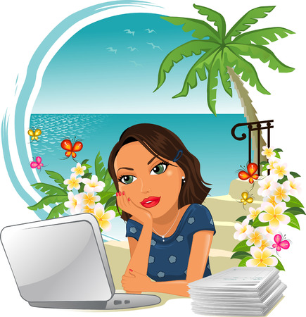 expect: Woman in office with little desire to work, think of the holidays by the sea-Gradient mesh Illustration