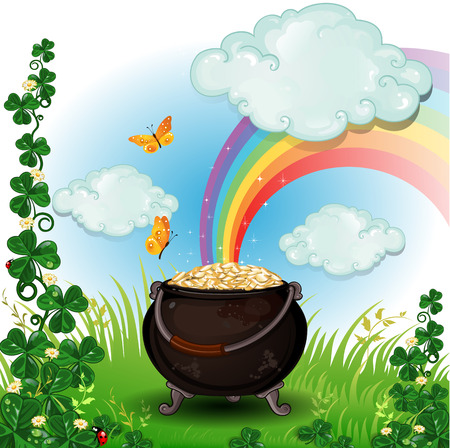feast of saint patrick: Pot of gold rainbow on grass and clover-transparency blending effects and gradient mesh