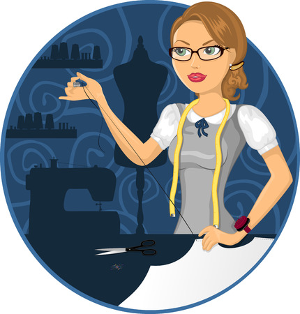 woman sewing in fashion atelier-Gradient mesh Illustration