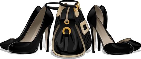 black heels: Black heels with floral decorations