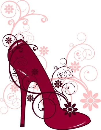 Red heels with floral decorations Vector