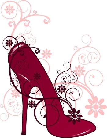 tacones rojos: Tacones rojos con adornos florales