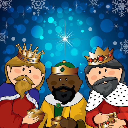 Three kings with gifts on the background of bright lights and comet-transparency blending effects and gradient mesh Vector