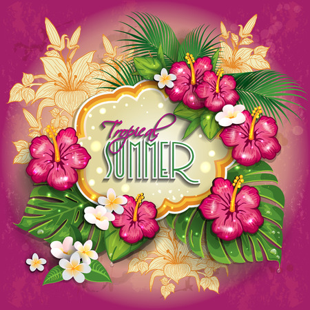 Label with  tropical floral useful for the summer. The writing can be removed- editable-transparency blending effects and gradient mesh Vector