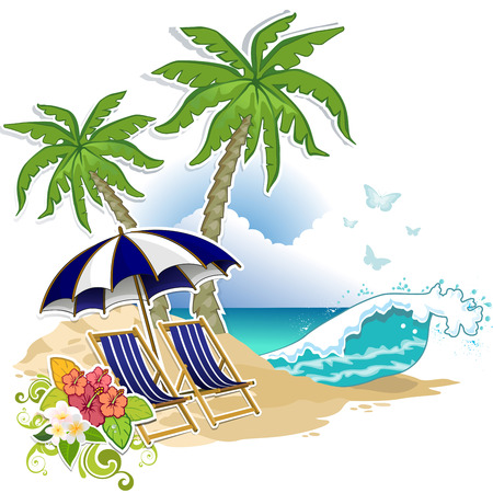 Beach chairs and umbrella in a tropical paradise-transparency blending effects and gradient mesh-EPS 10 Illustration