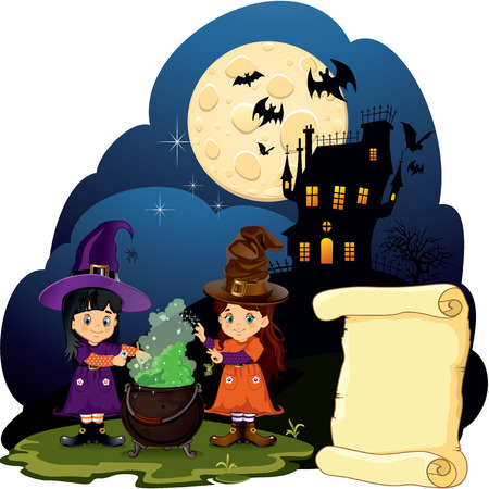 brewing house: Witches brewing with castle and bats on the background