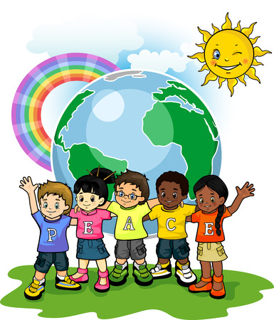 peace flag: Children united world of peace