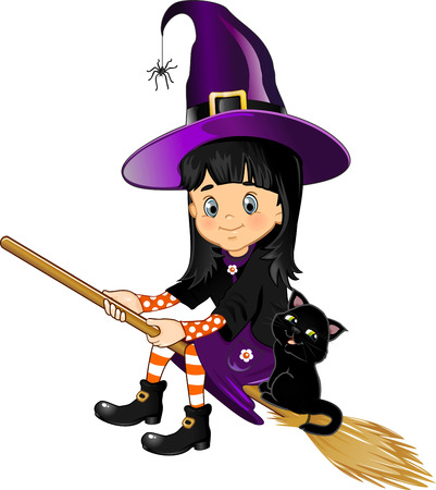 recurrence: girl witch on a broom with her %u200B%u200Bblack cat - transparency blending effects and gradient